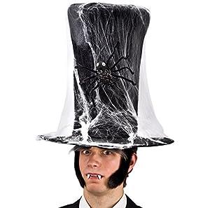 Carnival Toys 05444 - sombrero de terciopelo con tela de araña, de 40 cm, negro