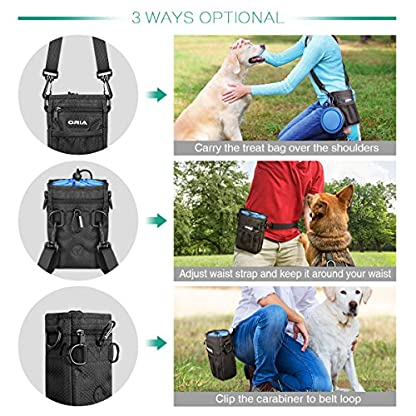 ORIA Dog Treats Bag, Dog Treat Training Pouch with Poop Waste Bag Dispenser, Training Clicker and Collapsible Travel Pet… 3