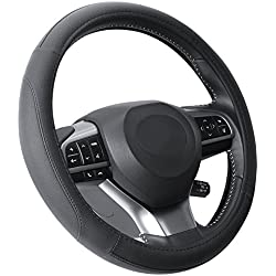 Microfiber Leather Black Steering Wheel Cover Universal Fit 38cm