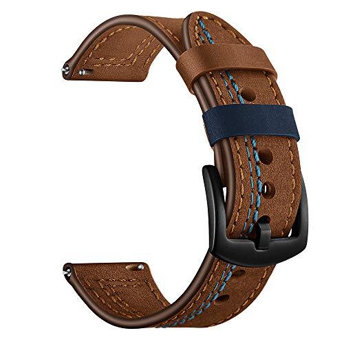 AMhomely Leder Ersatz Uhr Handschlaufe Band für Samsung Gear S3 22MM Smart Watch/Kompatibel mit Gear S3 Frontier Armband/Classic band/22MM Echt Lederarmband Ersatz Armband Strap Uhrenarmband (A)