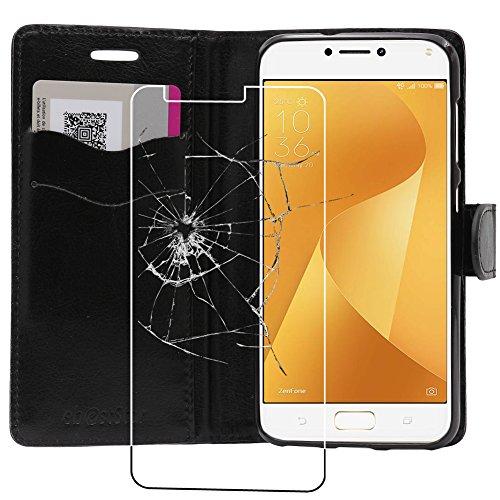 ebestStar - Asus Zenfone Max Plus M1 Hülle ZB570TL Kunstleder Wallet Case Handyhülle [PU Leder], Kartenfächern Standfunktion, Schwarz + Panzerglas Schutzfolie [Phone: 152.6 x 73 x 8.8mm, 5.7'']