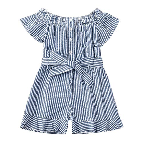 wborn Ruffle Sleeve Striped Print Romper Jumpsuit Outfits Set ()