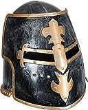 Faschingshelm Ritter Helm Roland, schwarz-gold