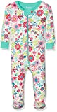 Hatley Baby Girls' 100% Organic Cotton Footed Sleepsuit, White (Wallpaper Flowers), 3-6 Months