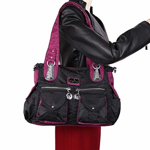 Angelkiss 2 Top Cerniere multi tasche borse di nylon tessuto increspa Tracolle LX1245 Nero