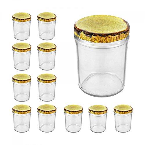 12er Set Sturzglas, 435 ml mit TO 82, Deckel mit Holz-Dekor Marmeladenglas Einmachglas Einweckglas