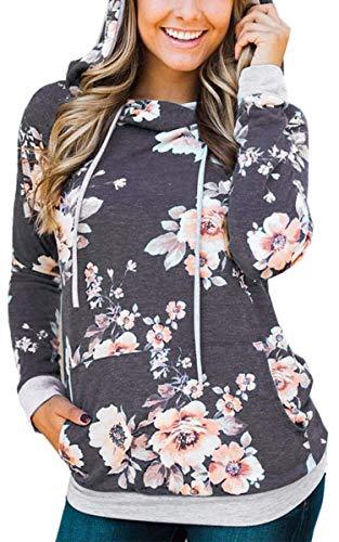 Angashion Damen Hoodies Langarm Kapuzenpullover-Blumenmuster Casual Sweatshirt Pullover Bluse Oberteile- Gr. EU XL(40), Dunkelgrau