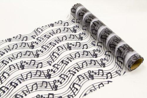 """Camino de mesa """"música"""" tela de organza adornado con partituras y billetes de llaves - longitud 5 Meter y anchura 28 cm"""