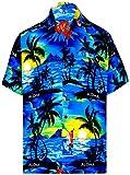 LA LEELA Shirt Camicia Hawaiana Uomo XS - 5XL Manica Corta Hawaii Tasca-Frontale Stampa Hawaiano Casuale Regular Fit Arancia 4XL