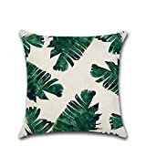 Cosanter Tropische Pflanzen Blätter Muster Kissenbezug kissenhülle Kopfkissenbezug Pillowcase 45 x 45cm aus Baumwolle Office Auto Dekor