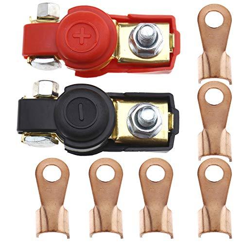 8 morsetti per batteria in ottone negativo e positivo per auto, 12 V, morsetti per cavo, connettore a smontaggio rapido con 400 A Heavy Duty anello di rame, kit assortimento per roulotte b