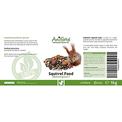 Squirrel Food Mix 1kg by AniForte - 100% Natural Feed for Squirrels, Chipmunks & Wild Birds | Sunflower Seeds, Hazelnuts, Rosehips, Cedar nuts, Raisins by Görges Naturprodukte GmbH