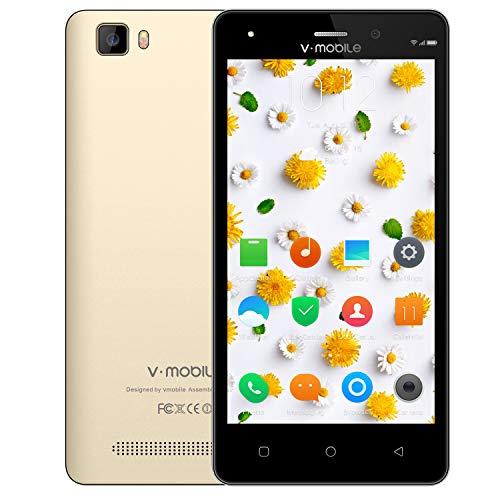 Moviles Libres Baratos 4G,8Pcs V Mobile A10 5.0 Pulgadas 8GB ROM 5MP Cámara Doble Sim 2800mAh Batería Android 7,0 Smartphone Telefono Movil Libres Baratos 1.3GHz Quad Core(Oro+Funda de Cuero)