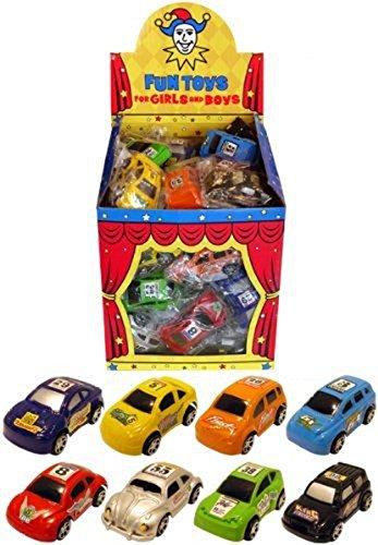 Gifts 4 All Occasions Limited SHATCHI-94 12 piezas Shatchi juguetes Pull Back Mini Carrera Coches varios colores bolsa de fiesta rellenos, Multi