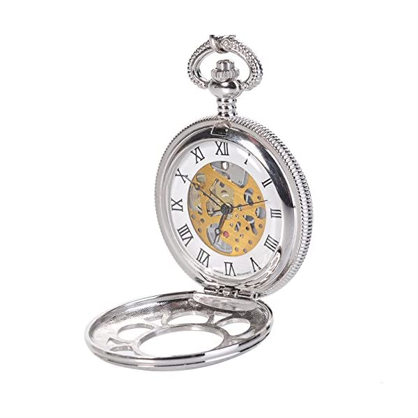 Antique Hunter Quartz Roman Numerals Pocket Watch for Men with Chain Silver 51XWpxYw HL