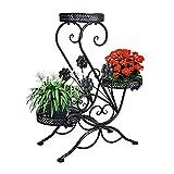 """Metall Blumentreppe Blumen Regale Pflanzenständer 66cm mit 3 Körbe Hocker Blumenhocker Regal (Schwarz, """"S""""-Flach)"""