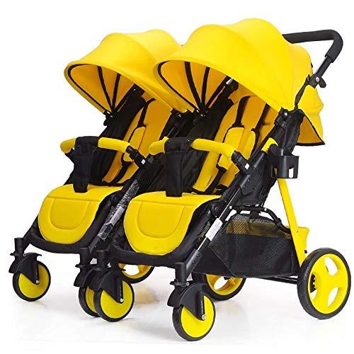 LQRYJDZ Passeggino gemellare gemellato Carrello Doppio Staccabile può sedersi e sdraiarsi Sistema di Viaggio Pieghevole a 5 Punti Leggero (Colore: Rosso) (Color : Yellow)