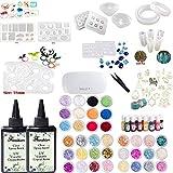 Resina epoxi transparente cristalina 2X100ML Resina UV no tóxica, 36 piezas de decoración con pinzas, 16 moldes de resina con 100 anillos, 17 bisel, pigmento líquido de 13 colores con lámpara UV LED