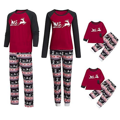 Jaysis Familie Pyjamas Weihnachten, Eltern-Kind-Cartoon-Bluse Hose Pyjamas Nachtwäsche Passendes Weihnachtsset