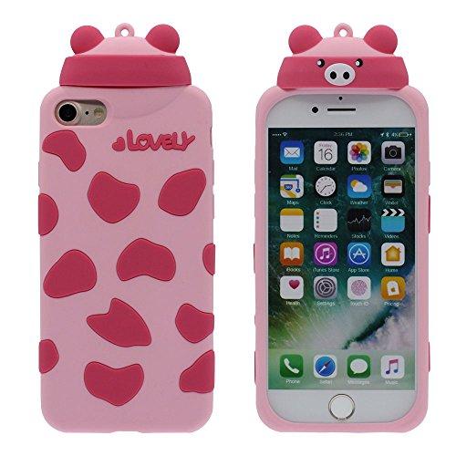 """iPhone 7 Coque Case Style Animal Mignonne Panda Mince Poids léger Souple Élastique Etui de Protection pour Apple iPhone 7 4.7"""" Anti Choc - Blanc Rose"""