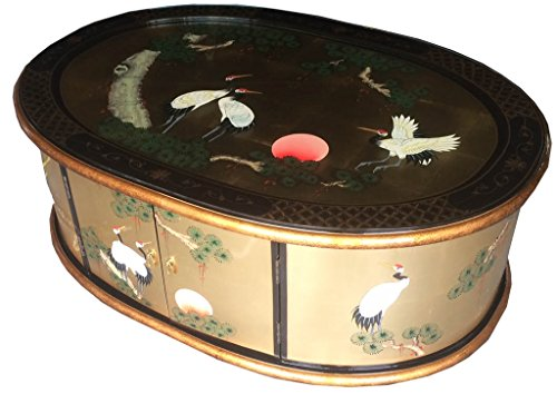 China Warehouse Direct Chinese Oriental Furniture - Gold Leaf Chest Coffee Table With Glass Top