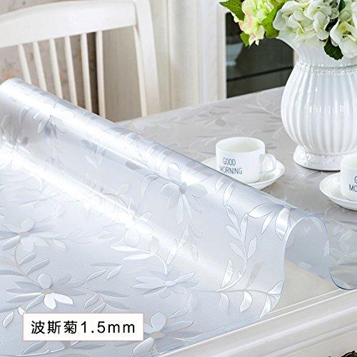 hyjdfbfk Wasserabweisend Tischwäsche PVC-wasserdichte Tischdecke anti -bügelnde weiche Glastabelle Matte transparent abrasive Tee Tischset Kunststoff Tischdecke-E-60x100cm (24x39inch)
