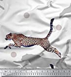 Soimoi Weiß Seide Stoff dot & springen Leopard Tier Stoff