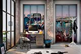 Komar - Vlies Fototapete LOFT - 368 x 248 cm - Tapete, Wand, Dekoration, Wandbelag, Wandbild, Wanddeko, Ausblick, City - XXL4-017