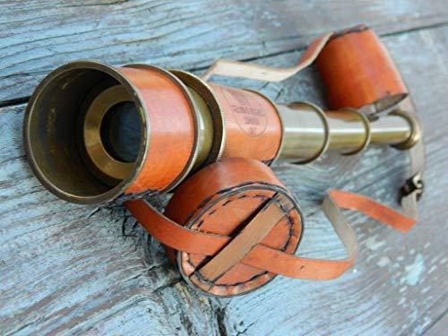 Hayah Nautisches Antik-Messing-Teleskop mit Leder-Tragetasche, Kelvin & Hughes -
