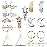 Haarspangen Metall Haarklammern Set für Damen Vintage Hohl Geometrische Spangen für Mädchen Haarschmuck 16 Stücke