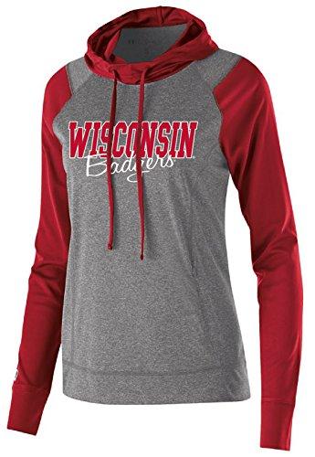Ouray Sportswear NCAA Wisconsin Badgers Women's Echo Hoodie, Large, Graphite/Scarlet Scarlet Zip
