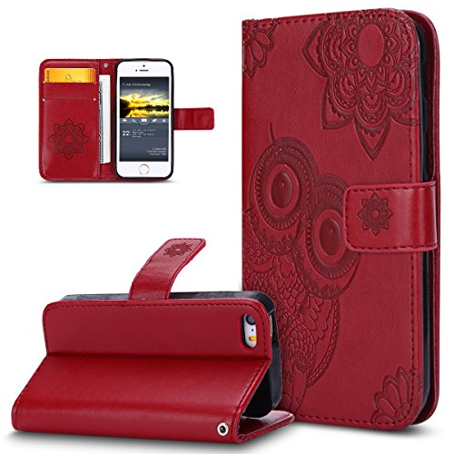 Custodia iPhone 5S,Custodia iPhone 5,Custodia iPhone SE,ikasus® iPhone 5S 5 & iPhone SE Custodia Cover [PU Leather] [Shock-Absorption] Protettiva Portafoglio Cover Custodia 3D rilievo Embossed rilievo Rosso