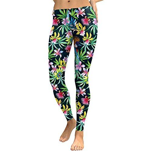 ume gedruckt Frauen-Gamaschen-Lilien V?Gel Frau Workout Legging Hohe Warte Elastic Leggins Digital Print Pants [S] ()
