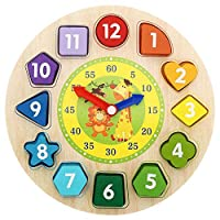 Shape Sorting Clock Wooden Teaching Learning Puzzle Educational Toys Clock with Numbers & Shapes Games Gifts for Kids Preschool Toddlers 3 Years Old Boys and Girls, Teach Your Kid To Tell Time