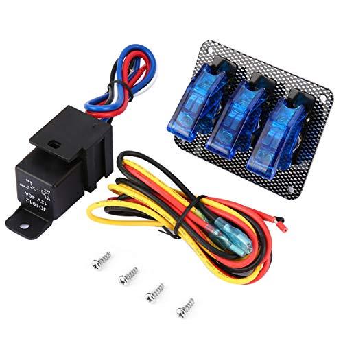 Course automobile 12V Interrupteur d'allumage Panneau de démarrage du moteur à bouton-poussoir LED interrupteur à bascule professionnel pour modification voiture