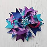 Galaxy Hair Bow on Alligator Clip, Large Beautiful space hair bow with Glitter star centre.