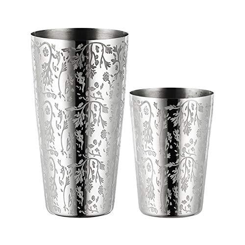 Mini Martini-shaker (JAYLONG Cocktail-Shaker 550 ml + 750 ml 1 Paar, Edelstahl Ätzmuster Muster, Bar Set Zubehör - Trinken Martini Shaker Barware Bartender Sieb a)