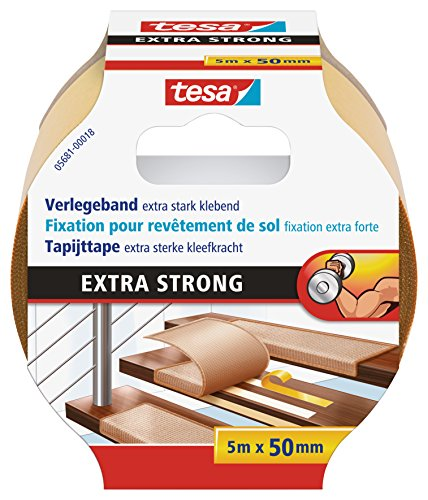 tesa® doppelseitiges Verlegeband (Extra stark klebend, für alle Teppiche und PVC Beläge, Für Fußbodenheizung und feuchte Räume geeignet, 50mm x 5m)