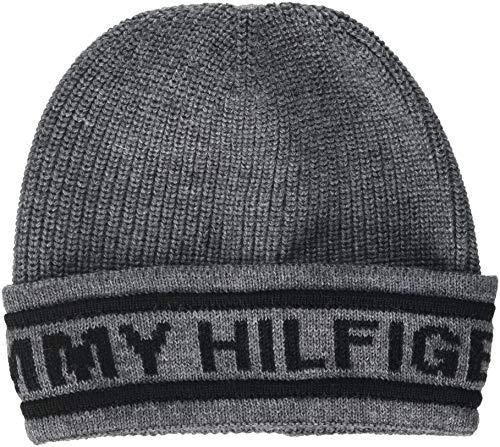 Tommy Hilfiger Herren Strickmütze Selvedge Knit Beanie, Grau (Light Grey Heather 050), One Size (Herstellergröße: OS)