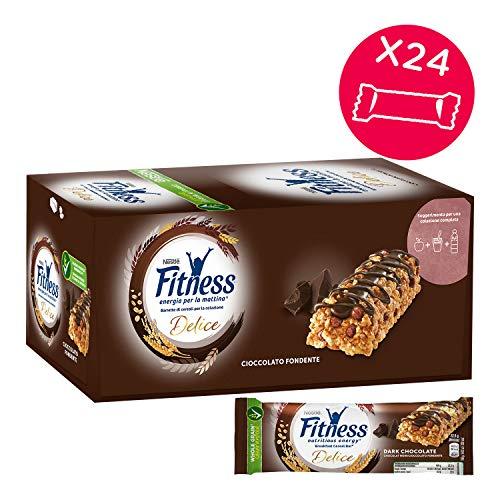 FITNESS Delice Cioccolato Fondente Barretta di Cereali Integrali con Cioccolato Fondente, 24 Pezzi