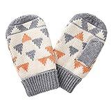 ANIMQUE Baby Kinder Stricke Fäustel Handschuhe für 1-2 Jahre Jungen Mädchen, Süß und Lieblich Fäustling Mitts Dreiecke Orange Grau, S
