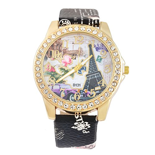 Souarts-Artificial-Leather-Rhinestone-Eiffel-Tower-Pattern-Quartz-Wrist-Watch-245cm