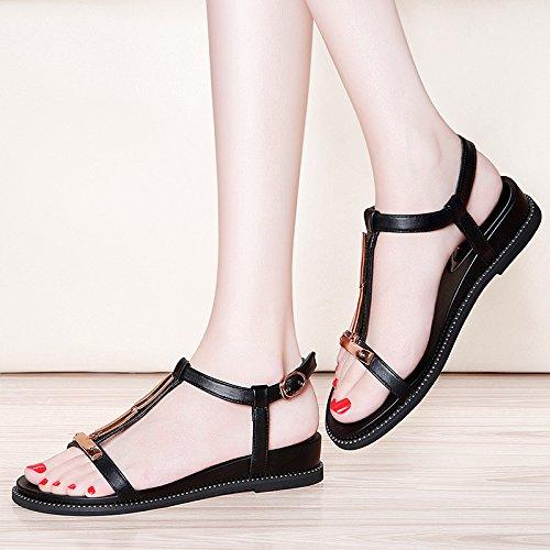 XY&GKFrauen Sommer Student Sommer Sandalen Damen Sommer Sandalen Sommer All-Match mit flachen Sandalen mit Ebbe, komfortabel und schön 34 black