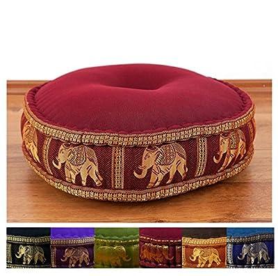 Zafukissen Seide mit Kapokfüllung, Meditationskissen bzw. Yogakissen, rundes Sitzkissen / Bodenkissen
