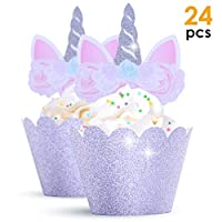 GET FRESH Unicorn Cupcake Toppers Silver Set - 24 pcs Magical Unicorn Birthday Cupcake Decorations Kit - Silver Glittery Unicorn Cupcake Picks - Double Sided Unicorn Horn Cupcake Toppers and Wrappers
