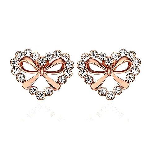 BODYA Rose Gold-Plated Cubic Zirconia open Heart Shaped love bow Halo Stud Earrings women girls