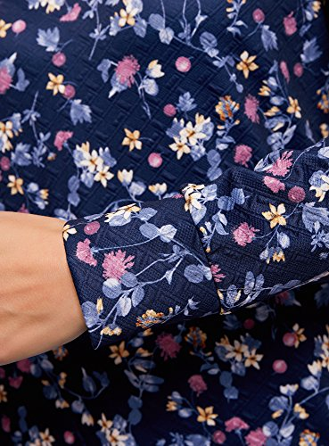 oodji Ultra Damen Bedrucktes Sweatshirt mit Rundem Ausschnitt Blau (7949F)