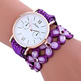 Hunpta Mode große Zifferblatt Glockenspiel Diamant Leder Armband Dame Womans Armbanduhr (Lila)