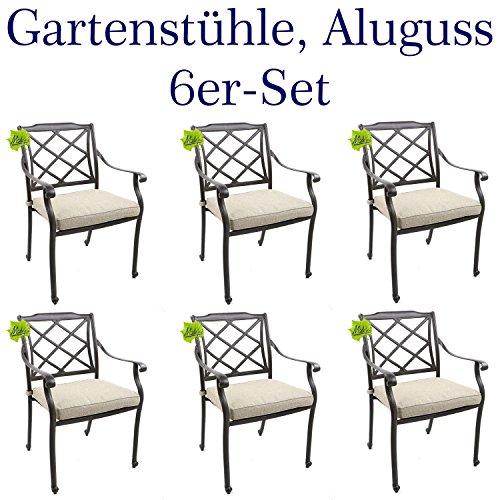 Made for us 6 Gartenstühle aus wetterfestem Aluguss mit UV beständiger AkzoNobel...