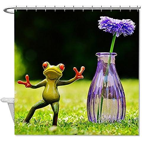 whiangfsoo Rana con fiore in vaso impermeabile doccia tenda da